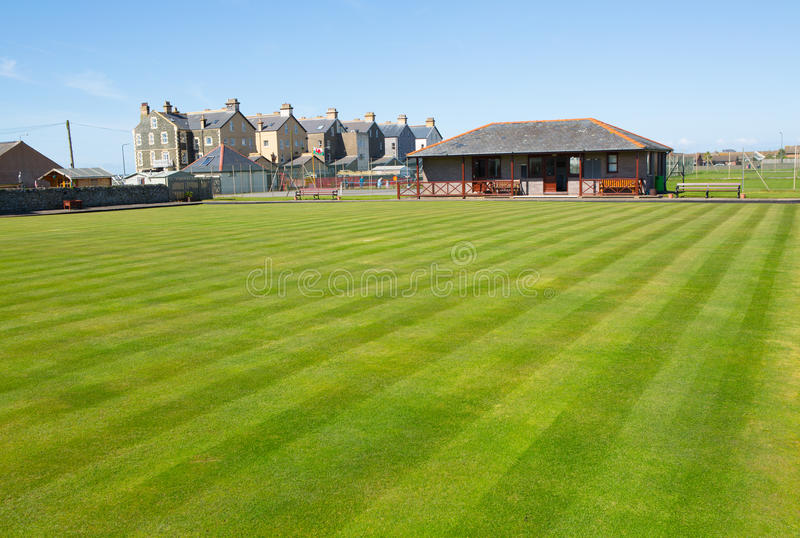 Crown bowl green grass lawn. Well kept crown bowl green grass lawn for bowls, club house stock photo