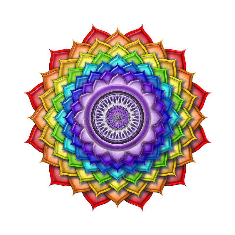 Crown Chakra Rainbow Colors isolated royalty free illustration