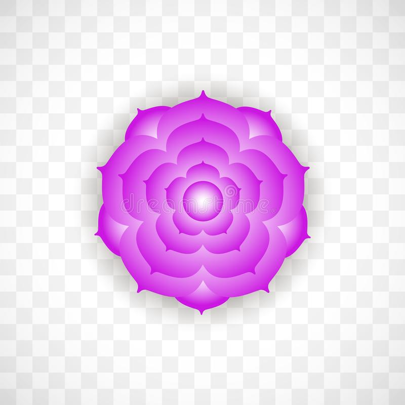 Crown chakra Sahasrara in violet color on transparent background. Isoteric flat icon. Geometric pattern. stock illustration