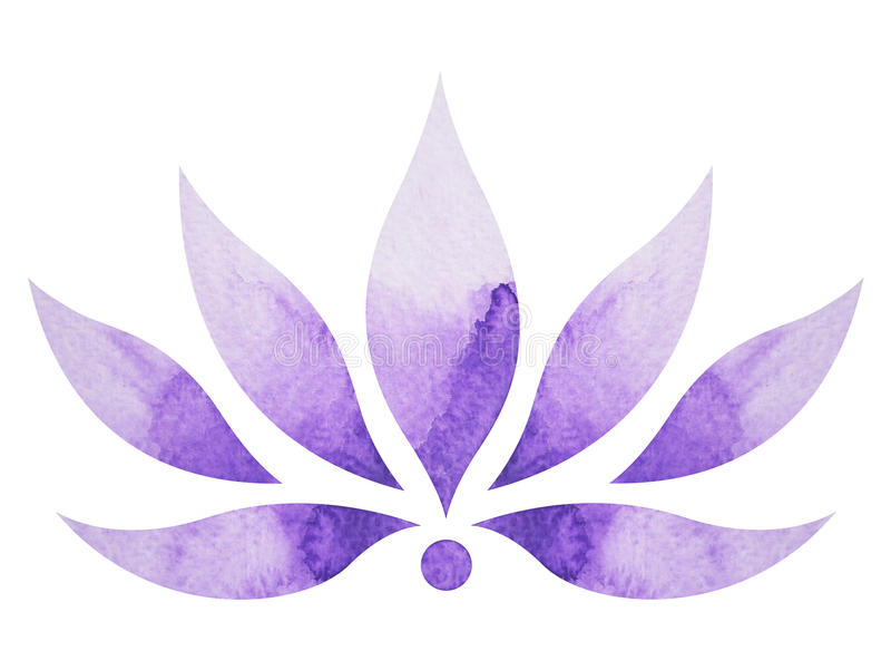 Crown chakra symbol concept, flower floral, watercolor painting. Color hand drawn icon logo, illustration design sign vector illustration
