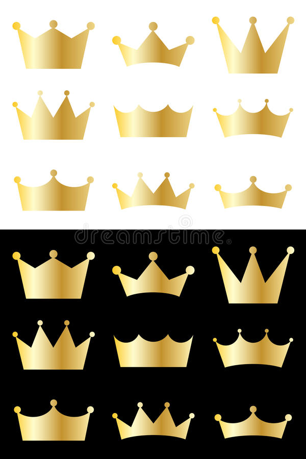 Crown collection. Set of 9 vector golden crowns elements. Collection of isolated crown icons on white and black background - ideal for your company logo, icon or