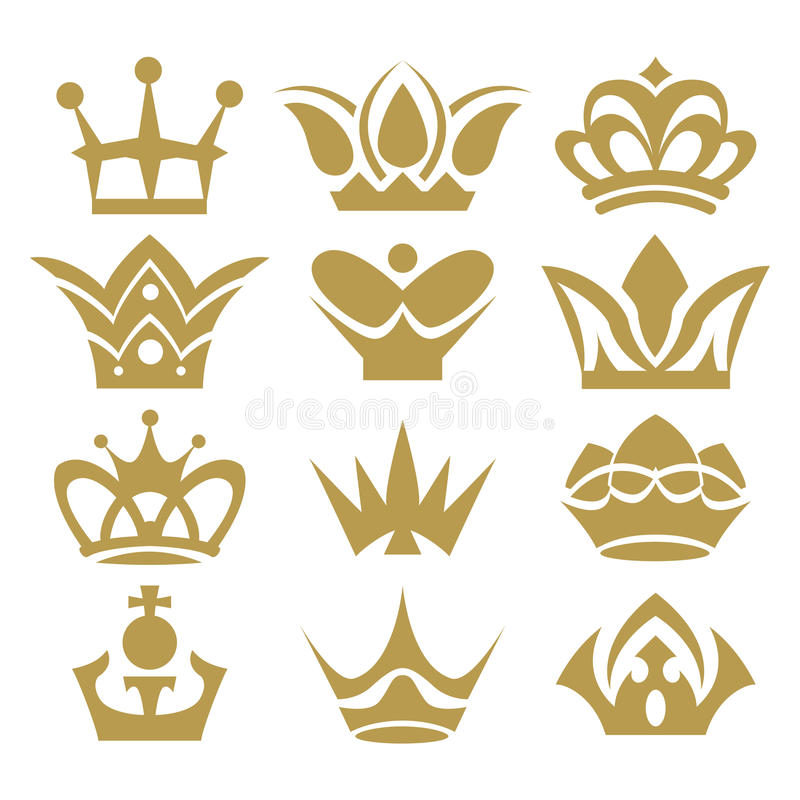 Crown collection (crown set, silhouette crown set) royalty free illustration