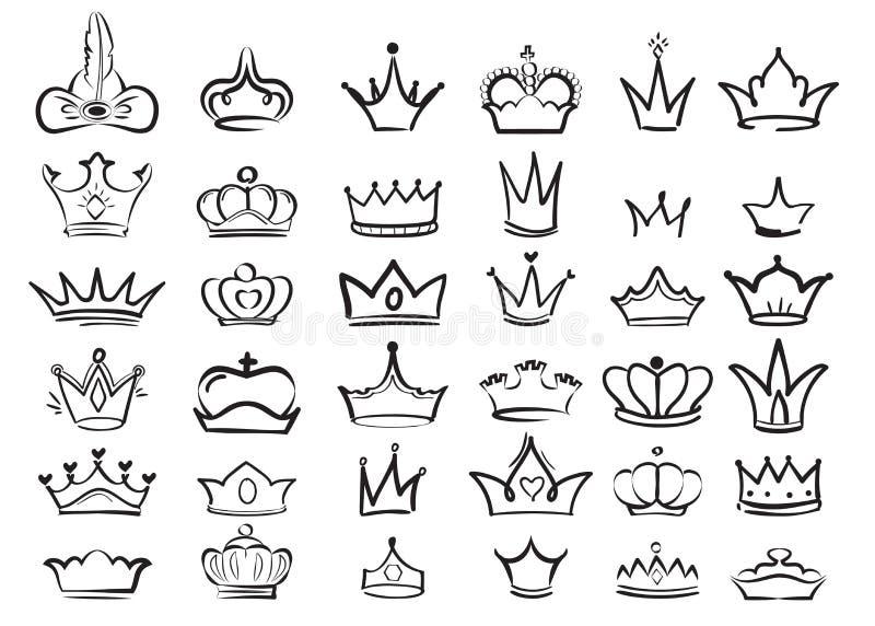 Crown doodles. Imperial king diadem regal symbols majestic sketch vector set. Illustration drawing crown king or queen, majestic monarch symbol stock illustration