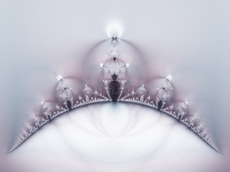 Crown Fractal in White Purple. An abstract wedding theme, resembling a bride's veil and tiara crown in silver and soft purple colors. There is another one like stock image
