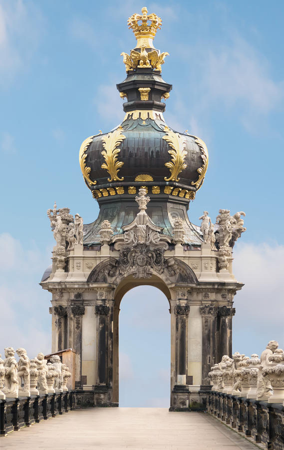 Crown Gate auf blue sky background. Zwinger, palace in baroque style. Travel photo. Crown Gate auf blue sky background. Zwinger, palace in baroque style in stock image
