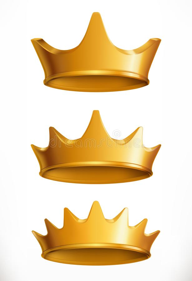 Crown, gold emblem. 3d vector icon stock illustration