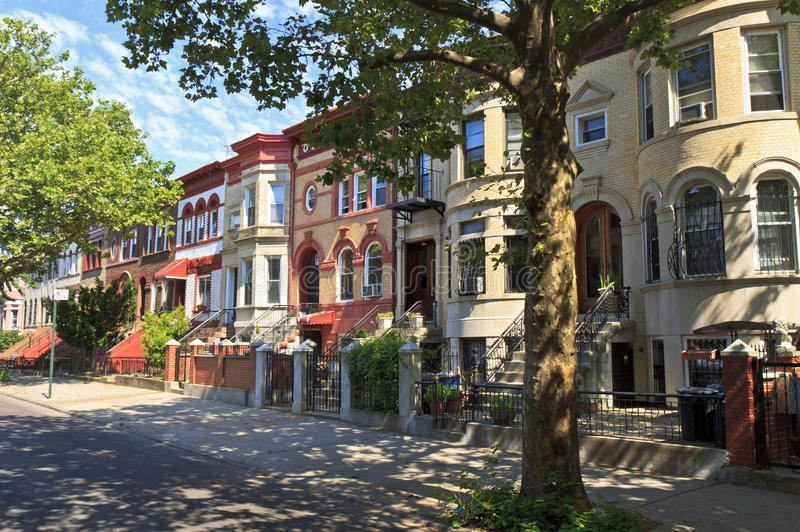 Download Crown Heights Brick Townhouses Stock Photo - Image of brick, stoop: 25840264
