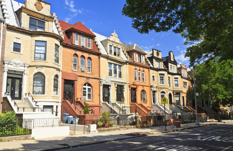 Download Crown Heights Townhouses stock image. Image of states - 25840257