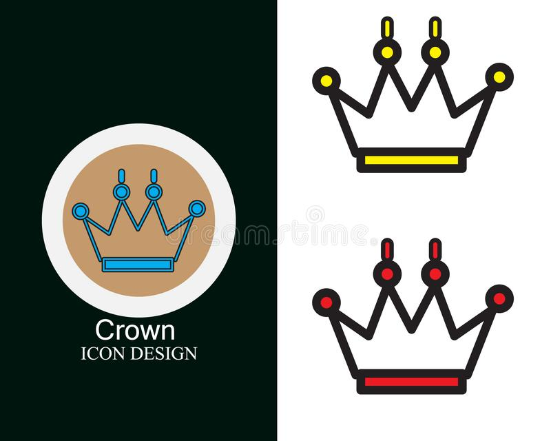 Crown icon design with three colors flat style lineart royalty free illustration