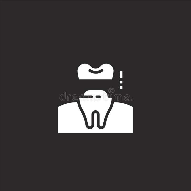 Crown icon. Filled crown icon for website design and mobile, app development. crown icon from filled dental collection isolated on. Black background vector illustration