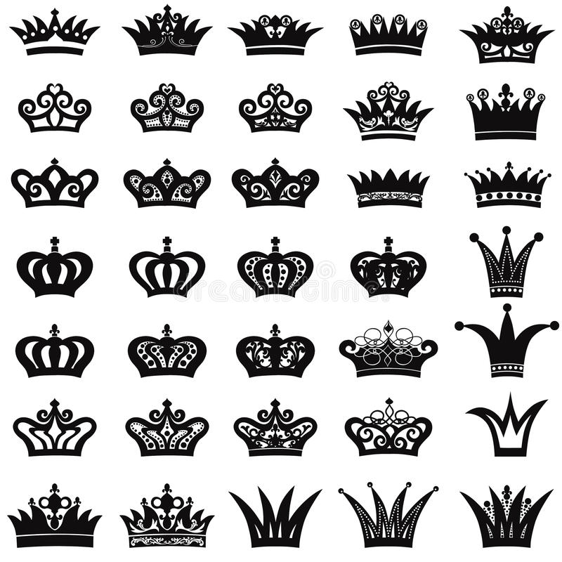 Crown icon set. King and Queen symbol collection