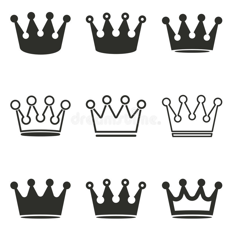 Crown icon set. stock illustration
