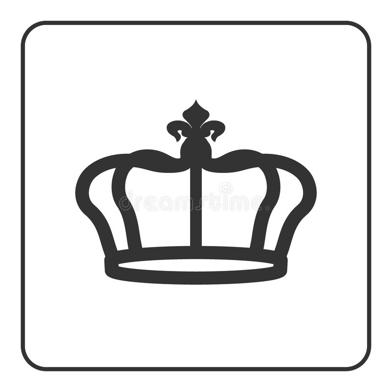 Crown icon isolated on white background. Crown icon - symbol of royal power and authority. Emperor sign. Design element for medals, awards, coat of arms or royalty free illustration