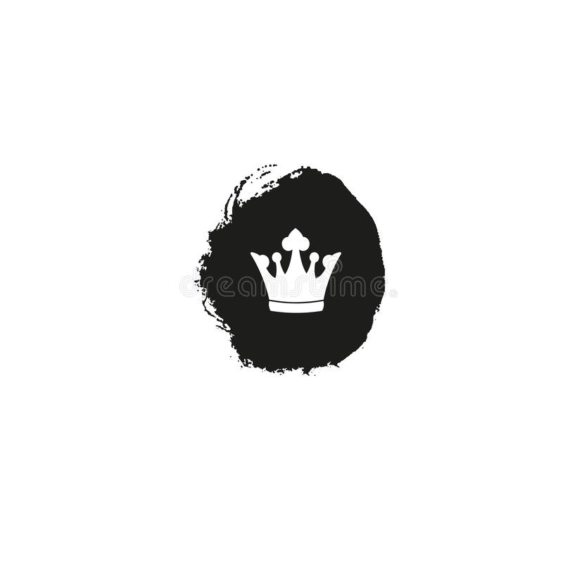 Crown Icon in trendy flat style on black ink spot on white background. Vector illustration stock illustration
