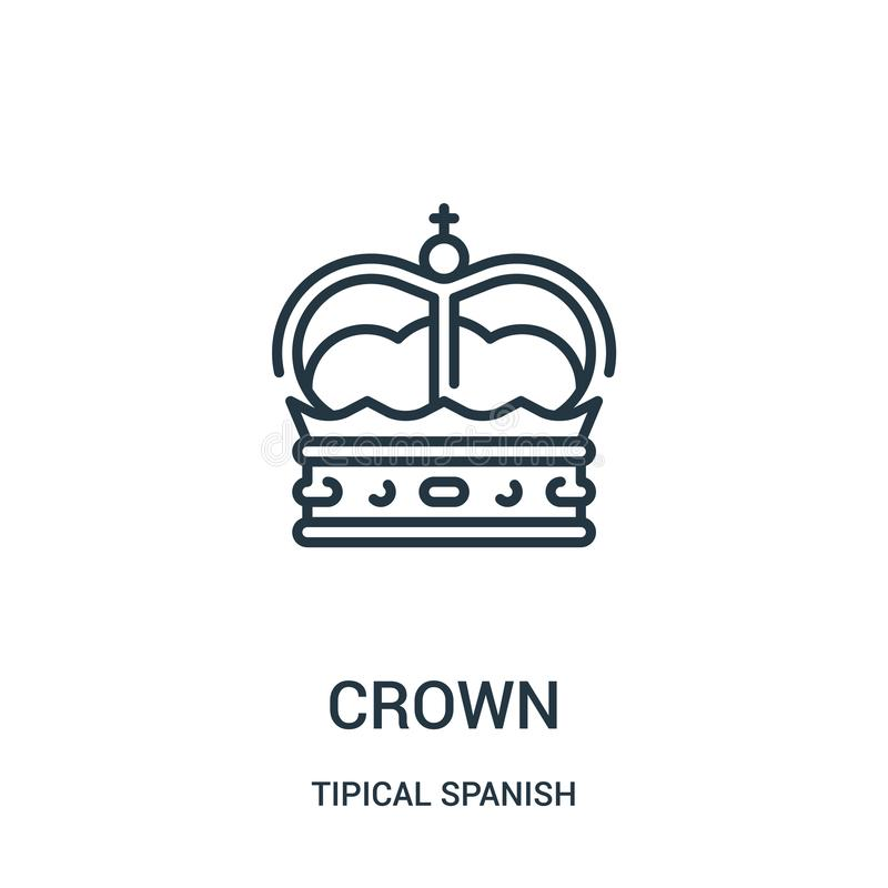 crown icon vector from tipical spanish collection. Thin line crown outline icon vector illustration. Linear symbol for use on web stock illustration