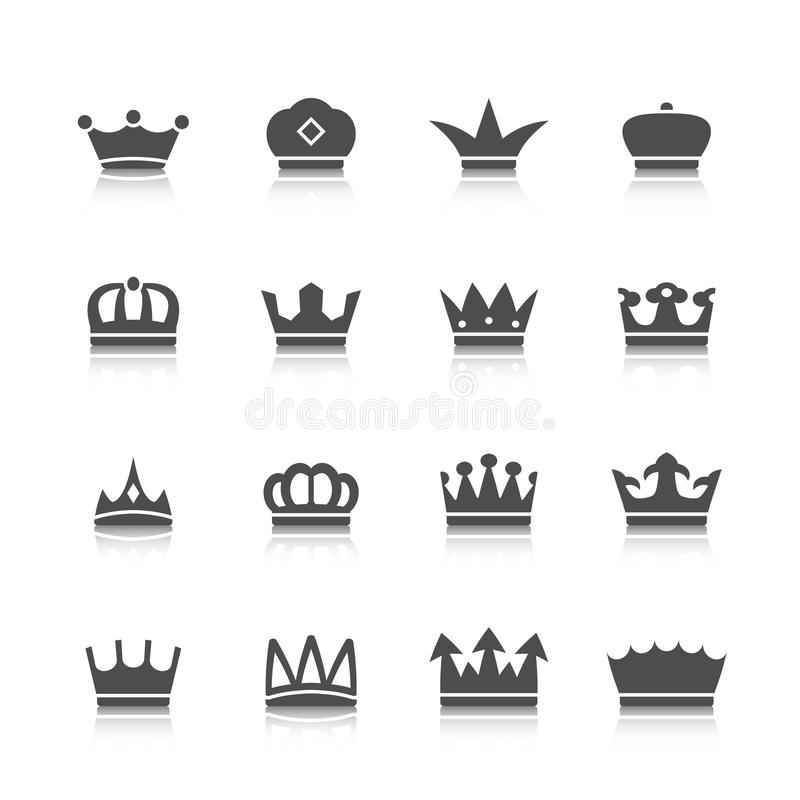 Crown Icons Set. Decorative prince princess king type crowns tattoo authority and supremacy symbols collection black abstract isolated vector illustration stock illustration