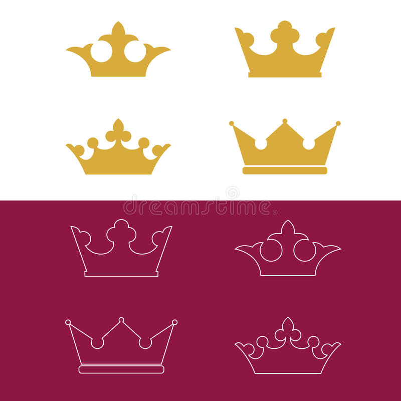 Crown icons royalty free illustration