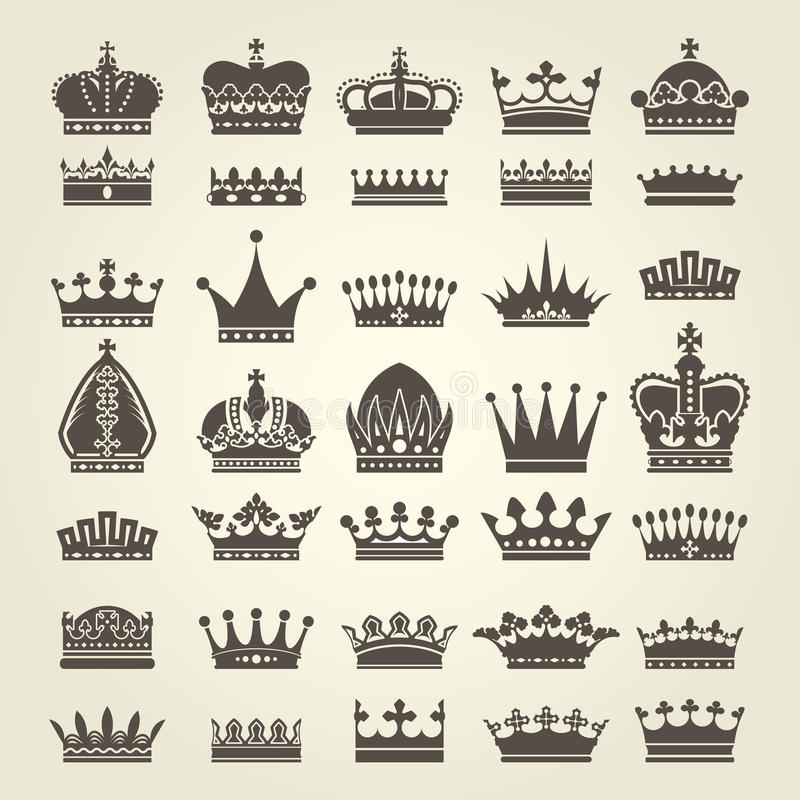 Crown icons set - monarchy and royal symbols. Crown icons set - monarchy authority and royal symbols stock illustration