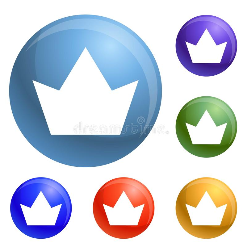 Crown icons set vector royalty free illustration
