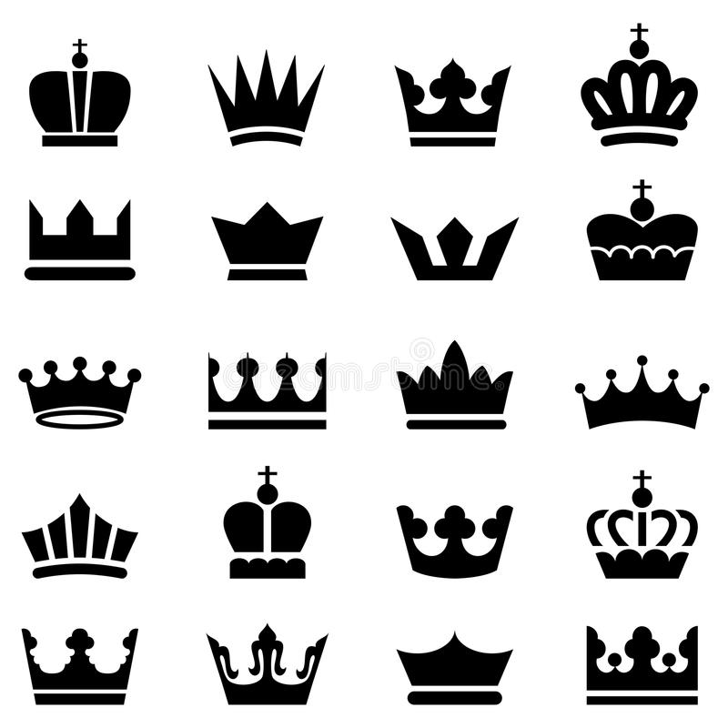 Crown Icons. A set of 20 vector crown icons isolated on a white background