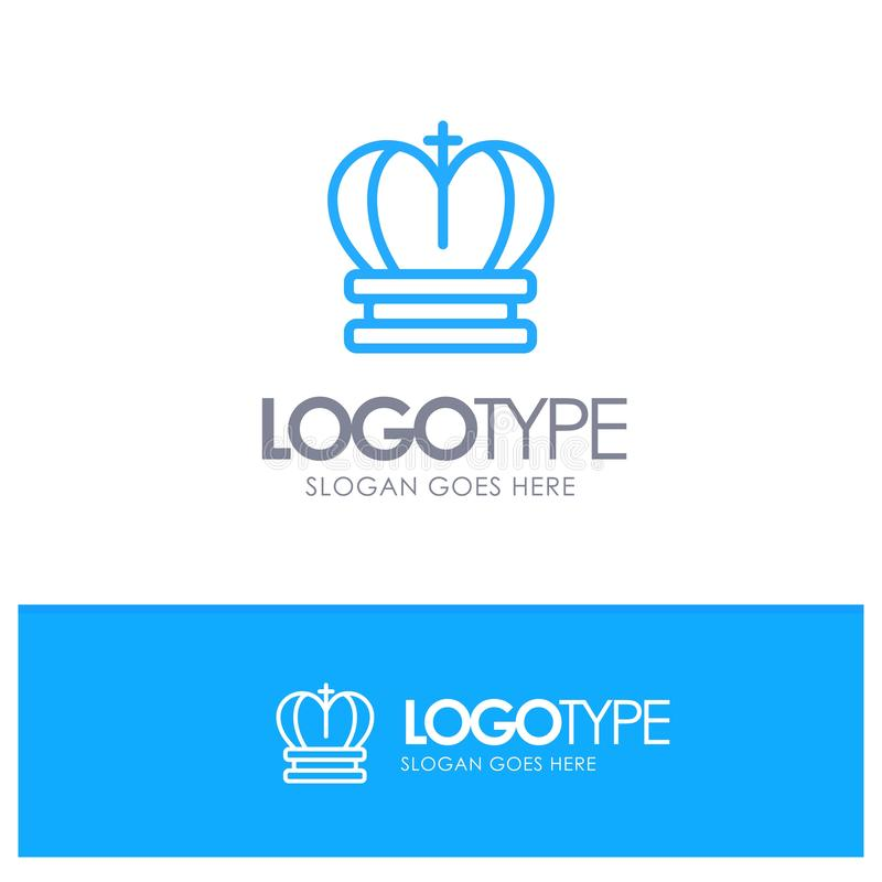 Crown, King, Royal, Empire Blue OutLine Logo With Place For