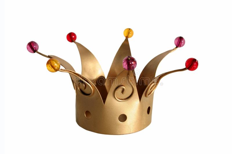Crown Of Kings on white background. Decorative object in the shape of a golden crown of kings with pearls isolated on white background stock photos