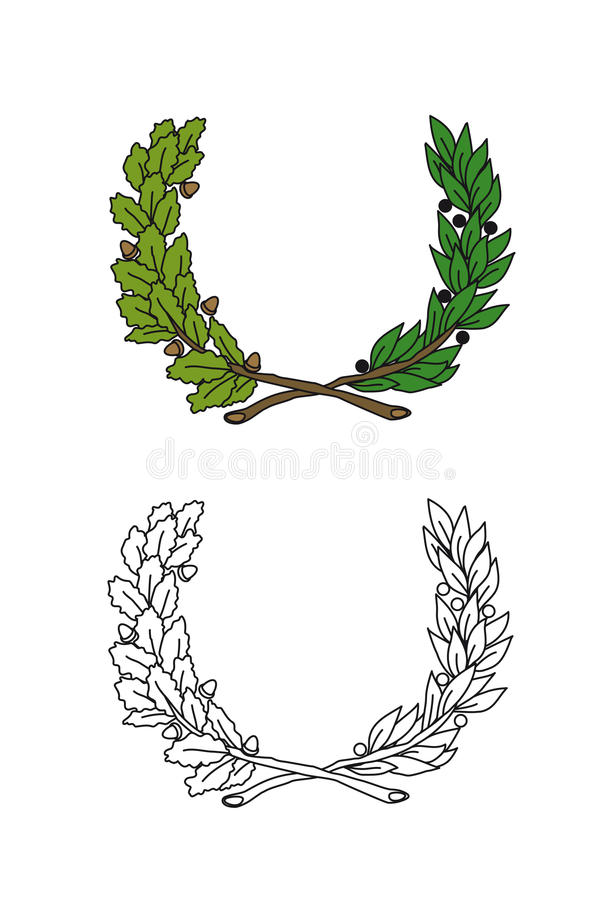 Download Crown of leaves stock illustration. Image of branch, gold - 10568999
