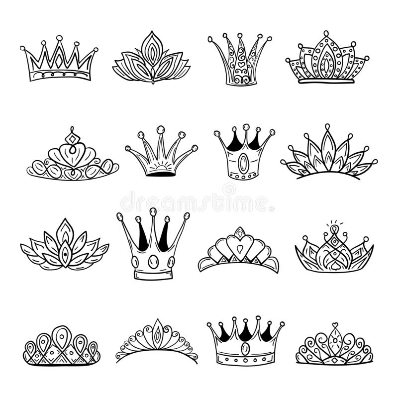 Crown logo graffiti hand drawn icon. Black elements isolated on white background. Hand drawn set of different crown and tiara for royalty free illustration