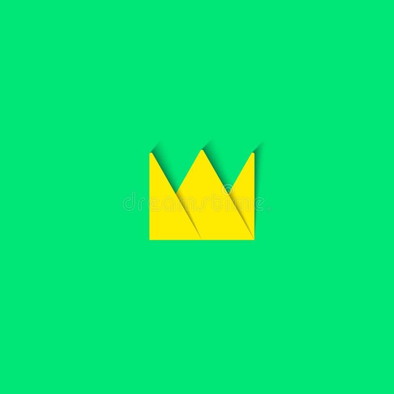Crown logo paper material design element, princess cartoon tiara icon vector illustration