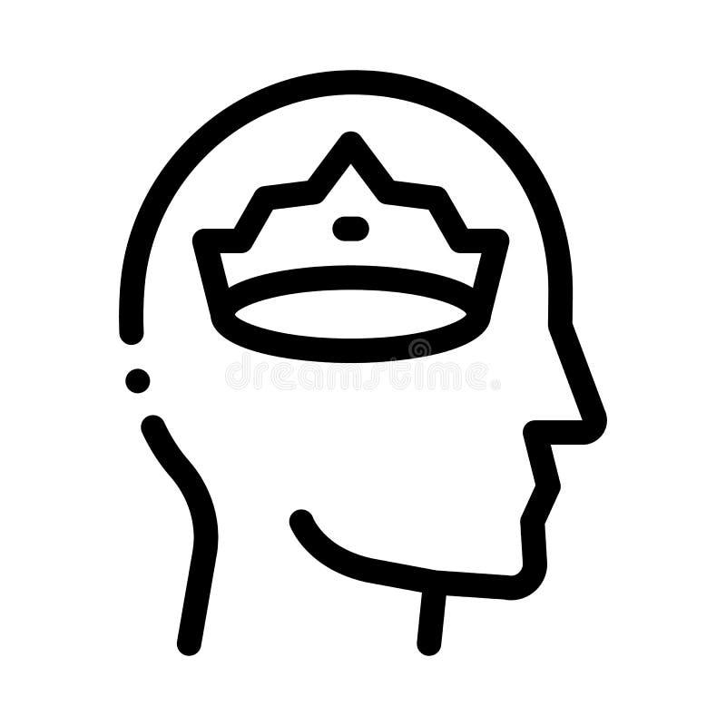 Crown Man Head Icon Vector Outline Illustration vector illustration