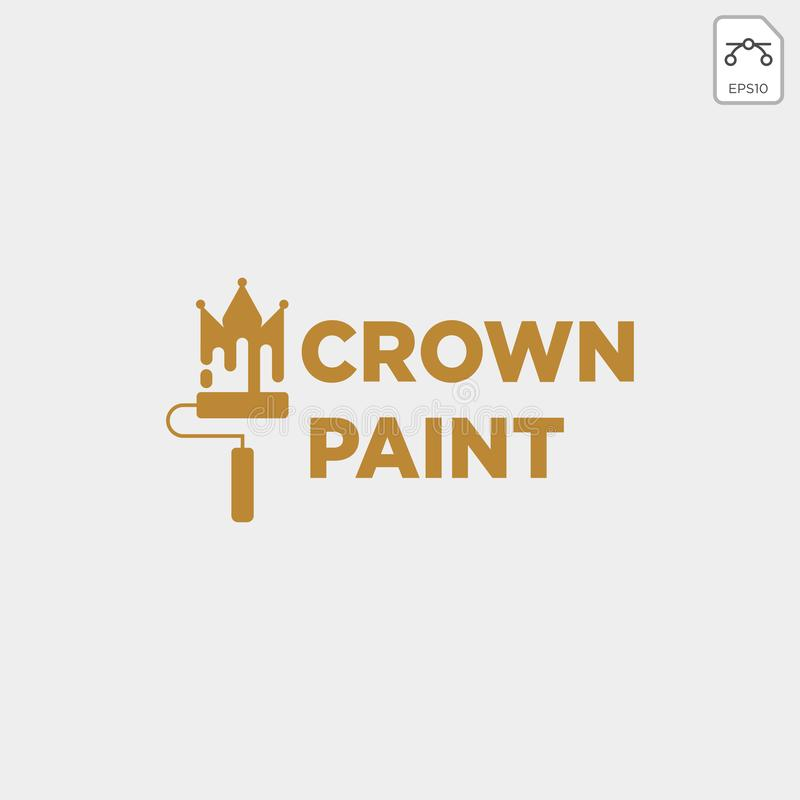 Crown paint brush colorful logo template vector icon element. Vector stock illustration
