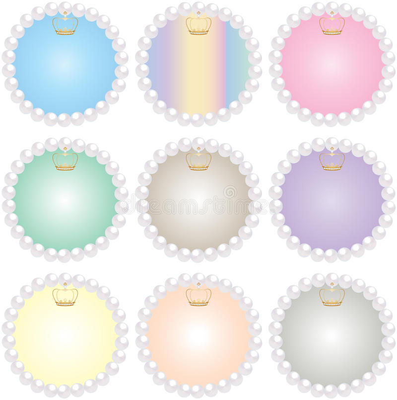9 Crown Pearl Frames stock illustration. Illustration of baby - 67669360