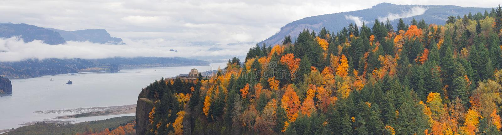 Crown Point at Columbia River Gorge in Fall. Vista House on Crown Point Along Columbia River Gorge Oregon in Fall Season Panorama royalty free stock image