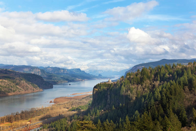 Crown Point Overlooking Columbia River Gorge Daytime. Crown Point Viewpoint Overlooking Columbia River Gorge Scenic Area on a cloudy day with blue sky in Oregon stock photography