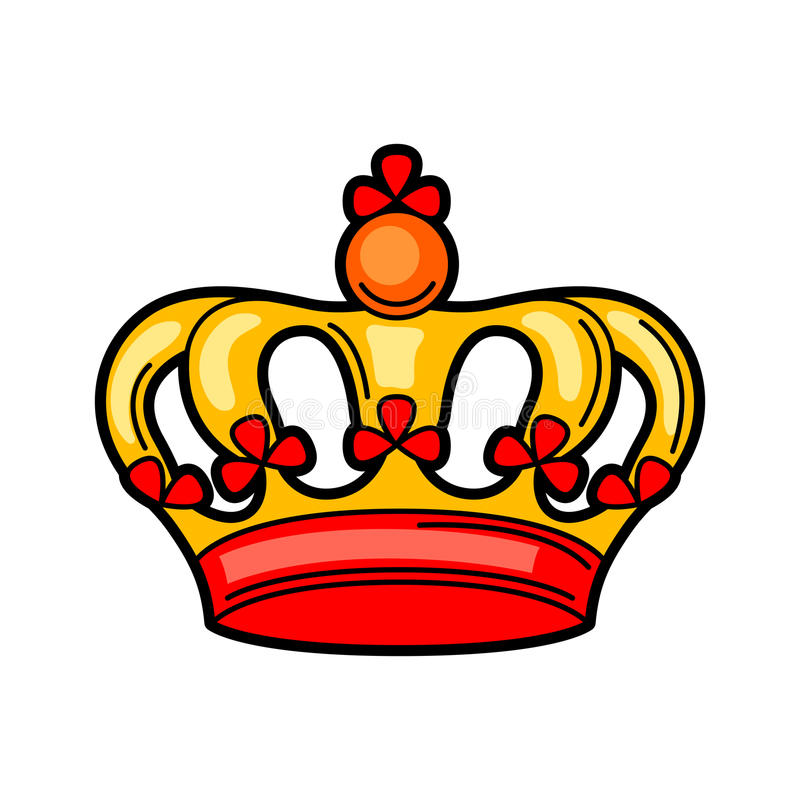Crown retro tattoo symbol. Cartoon old school illustration.  stock illustration
