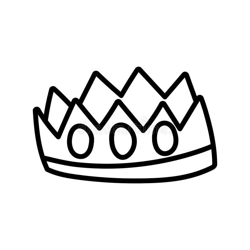 Crown royalty gemme lussuoso monarca icona spessa linea illustrazione vettoriale