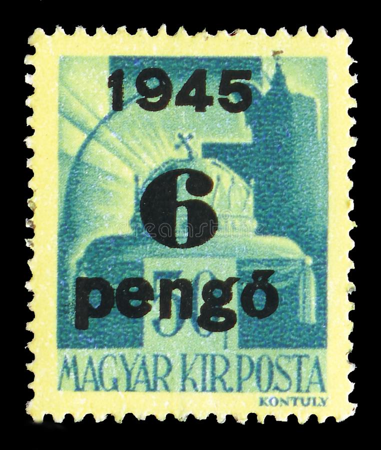 Crown of Saint Stephen, Surcharged serie, circa 1945. MOSCOW, RUSSIA - JULY 19, 2019: Postage stamp printed in Hungary shows Crown of Saint Stephen, Surcharged stock photography