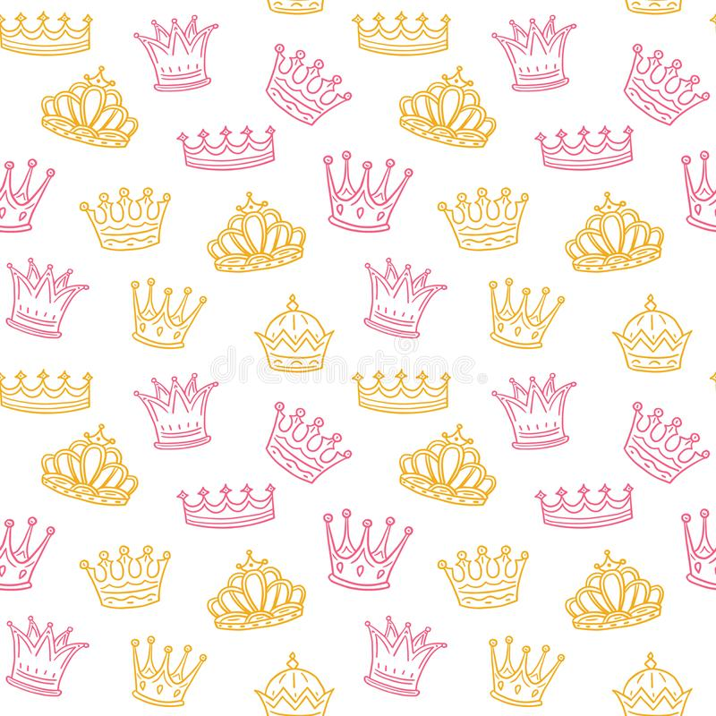 Crown seamless pattern. Golden and pink crowns for princess. Newborn girl vector background vector illustration