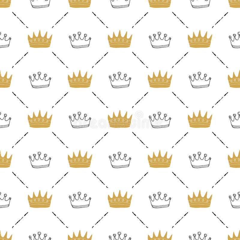 Crown Seamless Pattern, hand drawn royal doodles background, Vector Illustration.  vector illustration