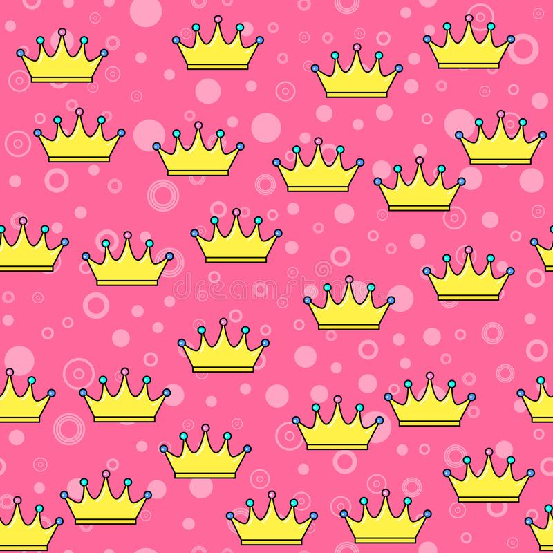 Crown seamless pattern on white background. Paper print design. Abstract retro vector illustration. Trendy textile, fabric,. Wrapping. Modern space decoration vector illustration