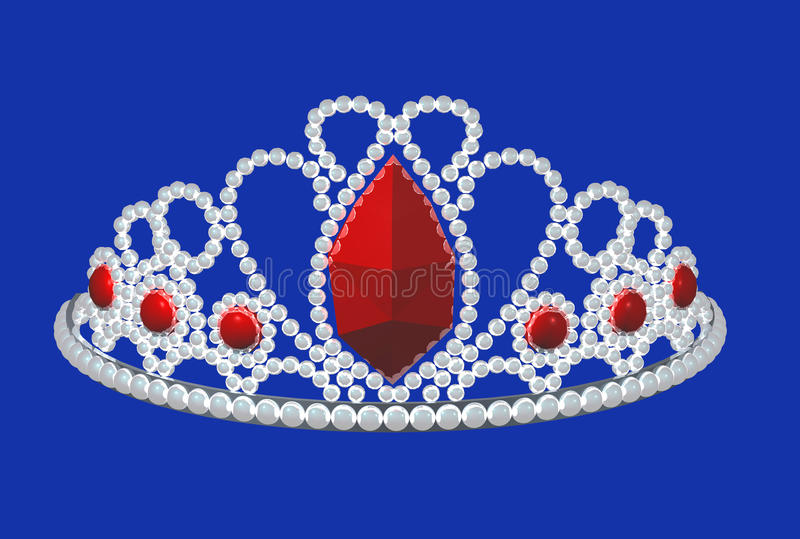 Crown. With several diamonds and brilliants and big ruby vector illustration