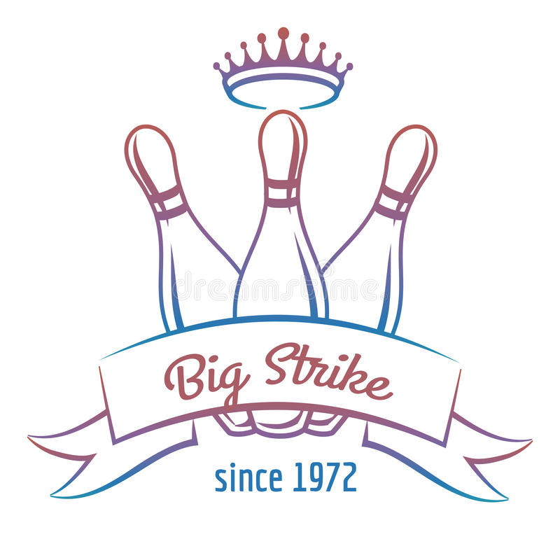 Crown and skittles bowling club logo. Colorful bowling club logo design on white. Vector bowling banner with crown and skittles royalty free illustration