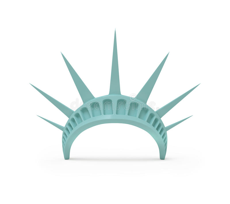 Crown of Statue of Liberty. 3D Render on white background stock illustration
