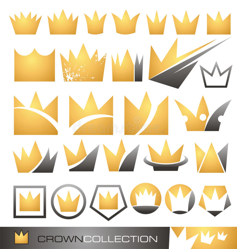 Crown symbol and icon set vector illustration
