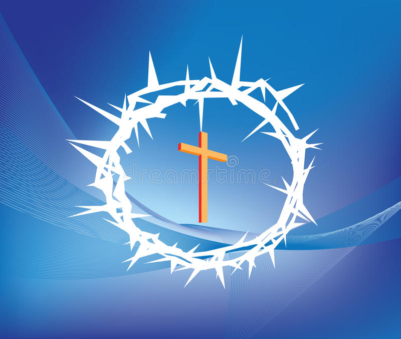 Crown of thorns. Illustration of crown ofthorns and christian cross vector illustration