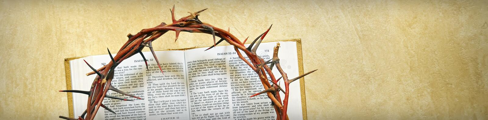 Crown of thorns on a bible. Isolated royalty free stock photography