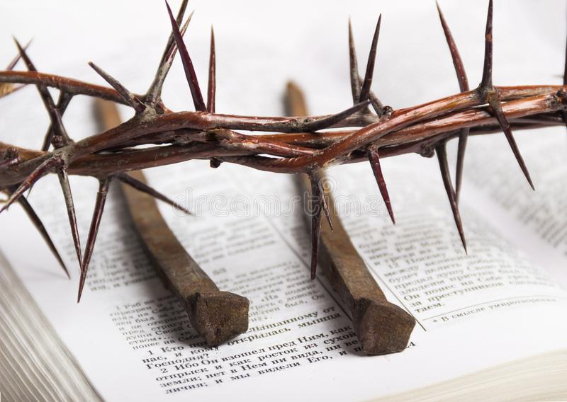 Crown of thorns Jesus Christ Bible nails royalty free stock photos