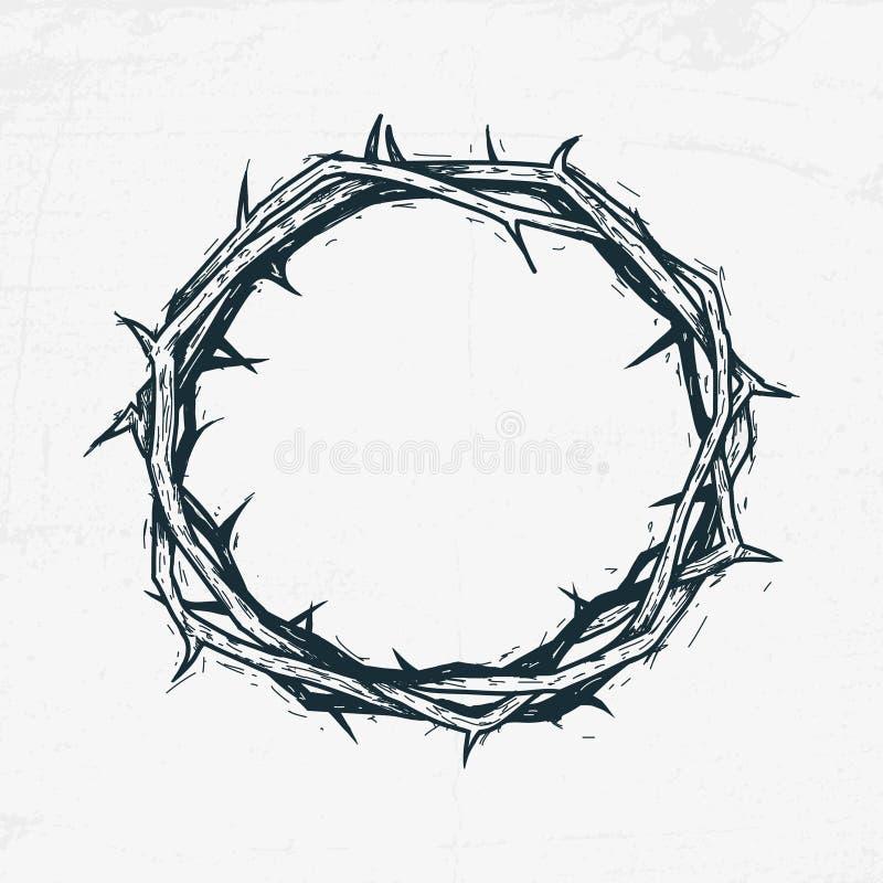 Crown of thorns Jesus Christ. Sketch, handmade vector illustration