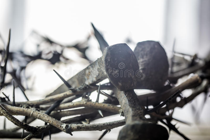 The crown of thorns and nails stock photos