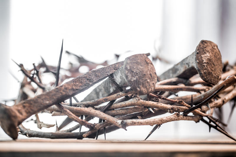 The crown of thorns and nails royalty free stock images